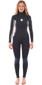 2020 Rip Curl Femmes Dawn Patrol 4/3mm Chest Zip Wetsuit Wsm9bs - Gris Charbon