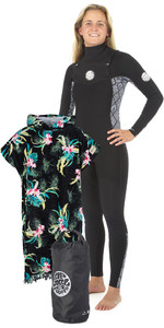 Rip Curl Womens Dawn Patrol 3/2mm GBS Chest Zip Wetsuit + Cloudbreak Change Poncho & Small Wetsack
