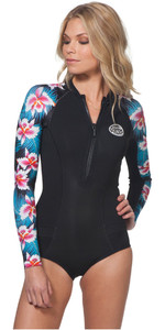 Rip Curl Womens G-Bomb 1mm LS Front Zip Hi Cut Shorty Wetsuit Black Sub WSP7LW