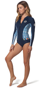 Rip Curl Womens G-Bomb 1mm LS Front Zip Hi Cut Shorty Wetsuit Blue SUB WSP7LW