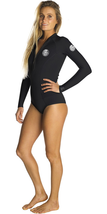 2021 Rip Curl Womens G-Bomb 1mm Long Sleeve Hi Cut Shorty Wetsuit BLACK WSP6EW