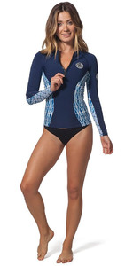2018 Rip Curl Womens G-Bomb 1mm Long Sleeve Front Zip Neo Jacket Blue Sub WVE6KW