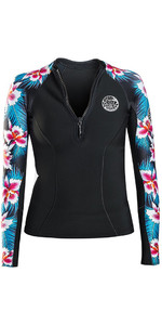 Rip Curl Womens G-Bomb 1mm Long Sleeve Front Zip Neo Jacket Black SUB WVE6KW