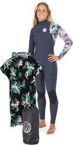 Rip Curl Womens G Bomb 3 / 2mm Zip Gratis Wetsuit + Cloudbreak Skift Poncho & Small Wetsack