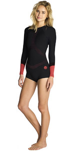 Rip Curl Womens Madi 1mm Long Sleeve Boyleg Shorty Wetsuit Black / Red WSP7OW