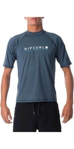 2021 Rip Curl Mens Shockwave Relaxed Short Sleeve UV Tee Rash Guard WLY7NM - Navy Marle