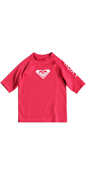 2018 Roxy Girls Toddler sincère manches courtes Rash Vest ROUGE ROUGE ERLWR03074
