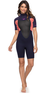 2020 Roxy Dames 2mm Prologue Spring Shorty Wetsuit Blauw Lint / Coral ERJW503010