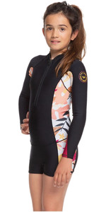 2020 Roxy Girl's Popsurf 1.5mm Manga Larga Con Front Zip Shorty Ergw403006 - Negro / Terra