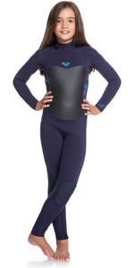 2020 Roxy Girls Syncro 3/2mm Back Zip Wetsuit Blue Ribbon / Coral Flame ERGW103013