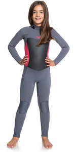 2019 Roxy Girl's Syncro 4/3mm Back Zip Wetsuit Cinza Escuro / Escarlate Ergw103016