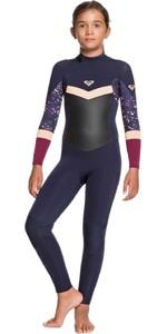 2021 Roxy Girls Syncro 3/2mm Chest Zip Wetsuit ERGW103031 - Dark Navy / Red Plum