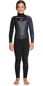 2020 Roxy Girl's Syncro Plus 4/3mm Wetsuit Op De Chest Zip Zwart / Gunmetal Ergw103027