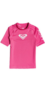 2020 Roxy Girls Whole Hearted UV50+ Short Sleeve Rash Vest ERLWR03150 - Pink Flambe
