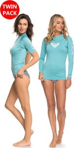 2018 Roxy Womens Whole LS & SS Rash Vest oferta AQUARELLE pacote