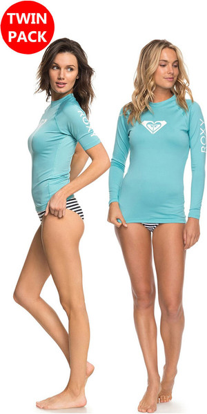 2018 Roxy Womens Wholehearted LS & SS Rash Vest Oferta AQUARELLE Bundle