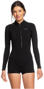 2020 Roxy Womens 1.5mm Satin Front Zip Long Sleeve Shorty Wetsuit ERJW403020 - Black