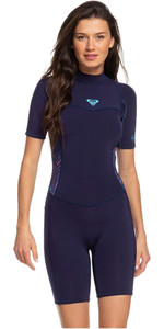 2020 Roxy Das Mulheres 2mm Syncro Back Zip Spring Shorty Wetsuit Erjw503007 - Azul / Coral