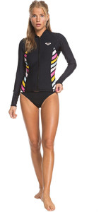 2019 Roxy Pop Surf 1mm Giacca In Neoprene Nero Erjw803018