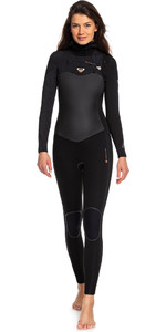 2019 Roxy Dames Performance 5/4 5/4/3mm Wetsuit Met Capuchon En Chest Zip Zwart ERJW203003