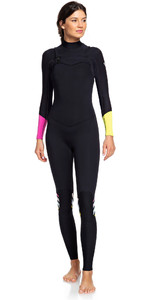 2019 Roxy 3/2mm Wetsuit Met Chest Zip Pop Surf ERJW103047 - Zwart