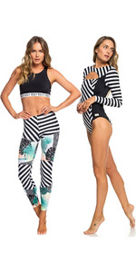 Pop De Roxy Mulheres Surfar Onesie Completo Uv & Leggings True Crazy Louco Preto