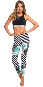 2019 Roxy mujer Pop Surf UV Leggings True Black Crazy Vic ERJWR03293