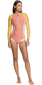 2020 Roxy Womens Popsurf 1mm Long Sleeve Shorty Wetsuit ERJW403023 - Terracotta / Peach