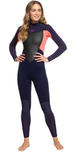 2020 Roxy Womens Prologue 4/3mm Back Zip Wetsuit ERJW103072 - Blue Ribbon / Coral Flame