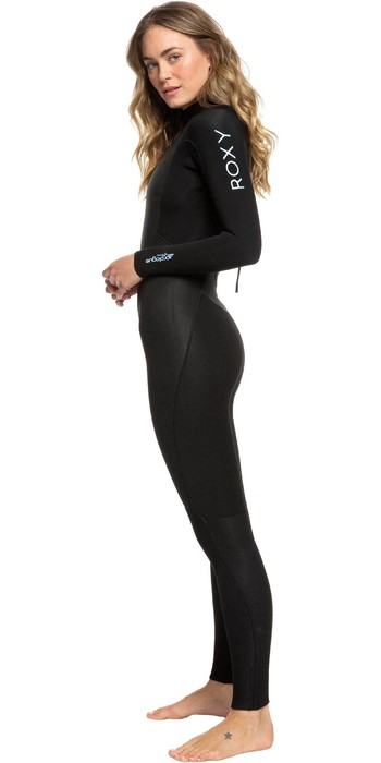 2021 Roxy Frauen Prologue 4/3mm Back Zip Neoprenanzug Erjw103072 - Schwarz