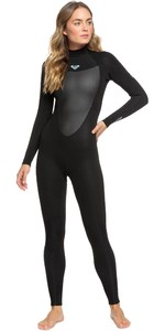 2021 Roxy Frauen Prologue 4/3mm Back Zip Neoprenanzug Erjw103072 - Schwarz