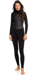 2019 Roxy Women Syncro 5/4 5/4/3mm Back Zip Wetsuit Black / Gunmetal Erjw103028