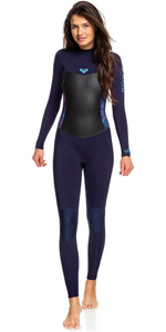 2019 Roxy Womens Syncro 3/2mm Back Zip Wetsuit Blue Ribbon / Coral Flame ERJW103024