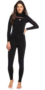 2019 Roxy Mulheres Syncro 4/3mm Chest Zip Wetsuit Preto / Gunmetal Erjw103022