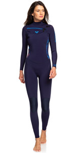 2019 Roxy Womens Syncro 3/2mm Chest Zip Wetsuit Blue Ribbon / Coral Flame  ERJW103025