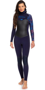 2019 Roxy Womens Syncro Plus 5/4/3mm Hooded Chest Zip Wetsuit Blue Ribbon / Coral Flame ERJW203002