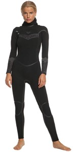 2020 Roxy Feminino Syncro Plus 5/4/3 5/4/3mm Chest Zip Capuz Erjw203007 - Preto