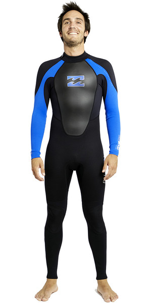 2018 Billabong Intruder 3 / 2mm Flatlock Wetsuit BLACK / BLUE S43M03