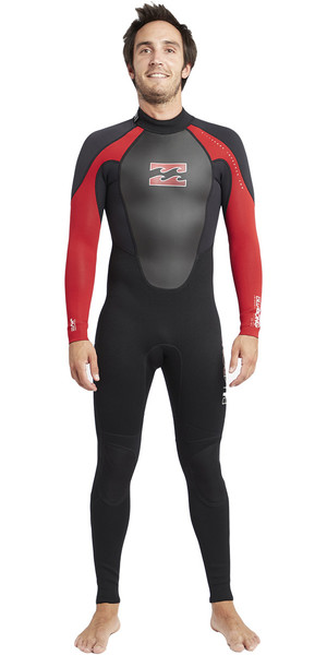 2018 Billabong Intruder 3/2mm Flatlock Wetsuit BLACK / RED S43M03