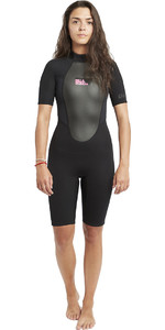 2020 Billabong Dames Launch 2mm Back Zip Shorty Wetsuit Zwart S42G03