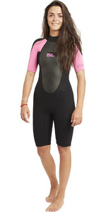 2020 Billabong Women Launch 2mm Back Zip Shorty Wetsuit Negro / Rosa Fuerte S42g03