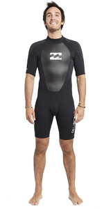 2019 Billabong Intruder Des Hommes 2mm Back Zip Shorty Wetsuit Noir S42m21