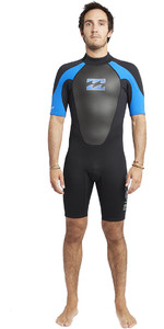2019 Billabong Intruder 2mm Back Zip Shorty Wetsuit Black / Blue S42M21