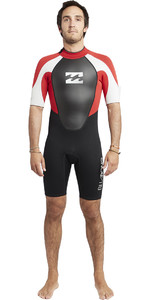 2020 Billabong Mens Intruder 2mm Back Zip Shorty Wetsuit Black / Red / White S42M21