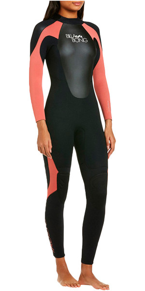 2019 Billabong Ladies Launch 3 / 2mm Flatlock Wetsuit Black / CHERRY S43G03