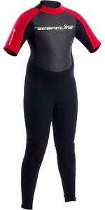 2018 Neil Pryde Junior 3mm Startline Short Sleeve Back Zip Flatlock Wetsuit Black / Red SAB701