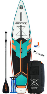 Stx Touring 12'6 Inflável Stand Up Paddle Board 2020 - Prancha, Bolsa, Remo, Bomba E Trela - Mint / Orange