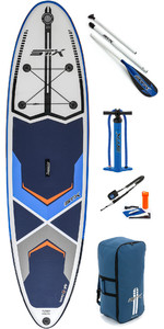 "2019 Stx 10'6 ""x 32"" Freeride Gonfiabile Stand Up Paddle Board , Paddle, Pump & Bag Blu / Bianco / Arancione 7"