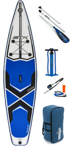 "2019 Stx 11'6 X 32 ""touring Stand Up Paddle Board Gonfiabile, Paddle, Borsa, Pump & Leash Blu / Bianco / Nero 70621"