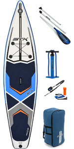 "2020 Stx 14'0 X 32 ""Touring Opblaasbaar Stand Up Paddle Board , Paddle, Tas, Pump & Leash 01220 - Blauw / Oranje"